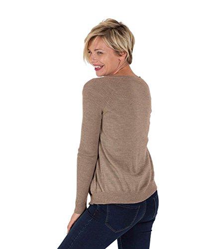 WoolOvers Cardigan à col rond - Femme - Pur Mérinos Mink
