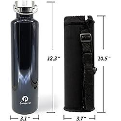 Ponixa Botella de agua Thermos con bolsa de botella MOLLE de alta calidad, botella de agua de acero inoxidable con aislamiento de pared doble: frío hasta 24 horas. caliente hasta 12 horas. 0,75L. 1L (Negro 1L)