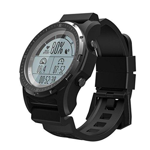 Ears S966 Smart Herrenuhr GPS Pulsmesser Fitness Tracker Uhr Waterproof Activity Tracker Portable Smart Bracelet Fitnessuhr Armbanduhr Damen Herren Smartwatch mit Aktivitäts Heart Rate (Schwarz)