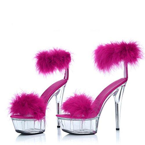W&LMCapelli di coniglio Scarpe modello sandali Piattaforma impermeabile Spessore inferiore maniche Tacchi alti Scarpe da lavoro Sandali da banchetto Rose Red