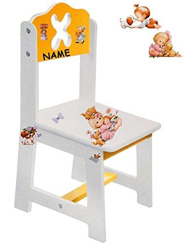 Unbekannt Stuhl für Kinder - aus sehr stabilen Holz -  süße Kätzchen & Morehead Kinder - Figuren - weiß / gelb  - incl. Name - Kinderstuhl - Beistellstuhl - Kindermöb..