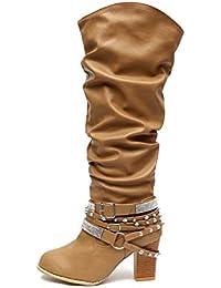 Botas Mujer Cuero Tacón Bloque Largo Botas Altas Otoño Remache Zapatos de  Mujer Cuña Señoras Botines Calzado Moda Negras Marrón Beige… b72069ccad95