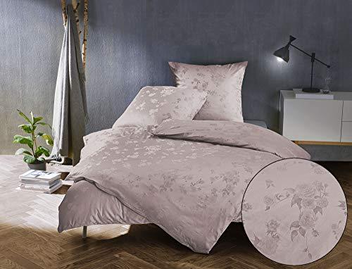 Bettwaesche-mit-Stil Mako Satin Jacquard Damast Bettwäsche Zoé Rose - Puder rosé - 135x200 + 80x80 cm