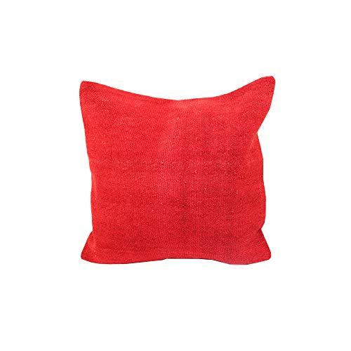 EuroHand Rosso Corsa Überwurf-Kissenbezug, 100% Handarbeit und 100% Wolle, 40,6 x 40,6 cm, dekorative Kissenbezüge Corso Cover
