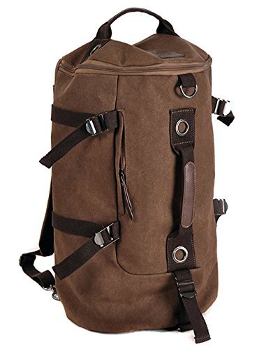 Imagen de icase4u®neutral unisex lienzo hombro viajes al aire libre tote mountain bag duffle bolsa de gimnasio senderismo camping viajes montaña escalada  marrón