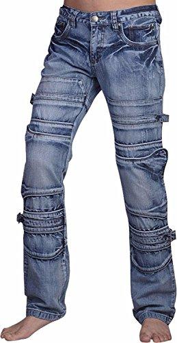 jeansian Herren Entwickelt Gerade Geschnittene Blue Jeans MFN_J007 J001_Blue
