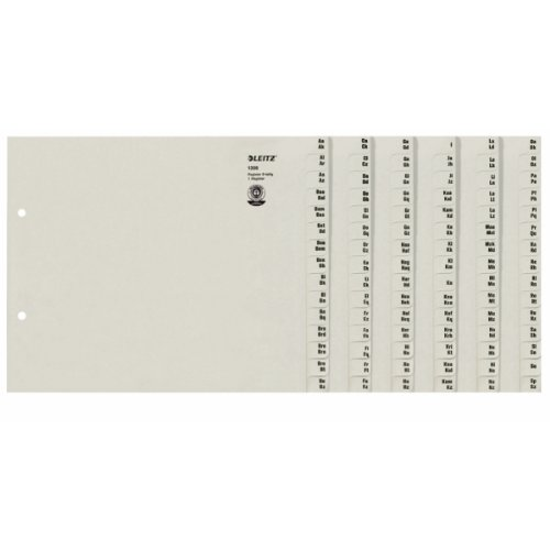 Leitz 13080085 Registerserie (A-Z, A4, Papier, für 8 Ordner) grau