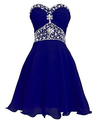 FAIRY COUPLE Robe de Soirée Courte à Paillettes en Mousseline Cristal Sans Bretelle D0263#18 Bleu Saphir EU38