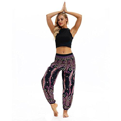 Keepwin-Pantalones Nuevo!! Mujer PantalóN Bombacho Flores PatróN Boho Harem PantalóN Baggy Yoga (Free Size, Morado#2)