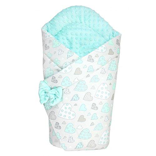 TupTam Baby Winter Einschlagdecke Warm Wattiert Minky , Farbe: Herzchen Mint, Größe: ca. 75 x 75 cm