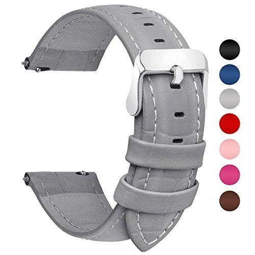 Fullmosa 18mm 20mm 22mm 24mm Bracelet Montre Cuir Véritable, 7 Couleurs Bamboo Bracelet de Montre Dégagement Rapide avec Fermoir en Métal Inoxydable pour Homme/Femme 20mm Gris