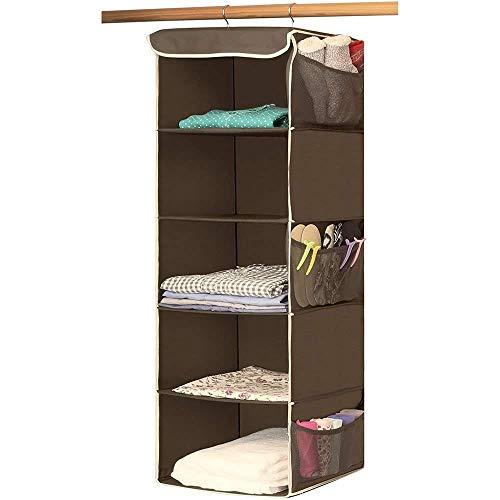 5mensola pieghevole hanging organizer per armadio con 6tasche laterali e 2ganci robusti, facili da montare appeso scatola per vestiti per maglione, scarpe, borsa portaoggetti, salvaspazio brown