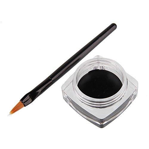 Beauty7 Noir Imperméable Mini Eyeliner Gel Crème + Brosse Sets Liner Yeux Pinceau de Maquillage Cosmetique