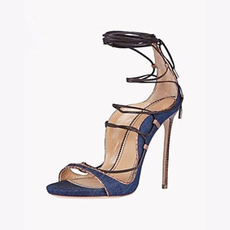 FSCHOOLYDamenschuhe Denim Frühling Sommer Komfort Sandalen Stiletto-Absatz Für Casual Blau
