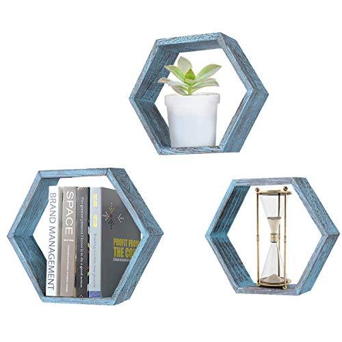 Comfify Rustikales Schweberegal Hexagon - 3er-Set - Groß, Mittel und Klein - Schrauben und Dübel inklusive - Landhausregale für Schlafzimmer, Wohnzimmer und mehr - Wabenwanddekorationen - Blau -