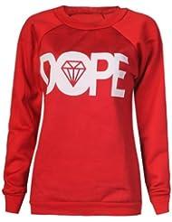 Fast fashion manches longues pour femme avec diamant motif dope sweat-shirt avec imprimé gratuitement schlüsselbunde ci-dessus (eUR/40/42–uK 12–14 (rouge)