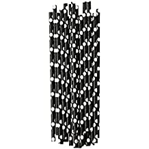 25pajitas de papel de lunares blanco