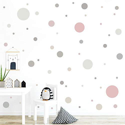 malango® 78 Wandsticker in vielen verschiedenen Farbkombinationen Punkte Kinderzimmer Wandtattoo Kreise Set selbstklebend grau-Altrosa-beige-Greige