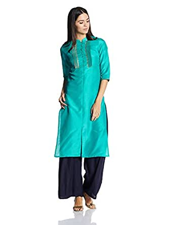 W for Woman Women's Straight Kurta (17AU16998-65621_Tile Blue_6)