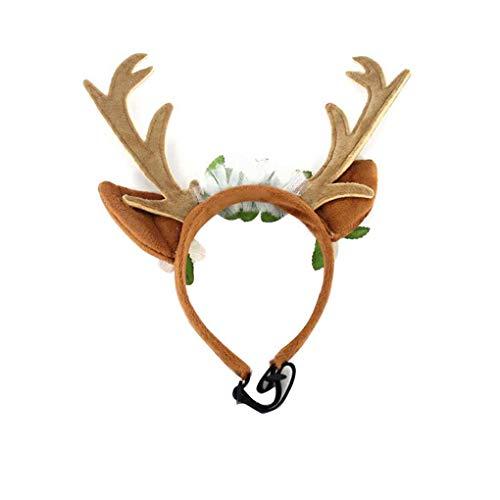 Aiming Pet Deer Horn Blüte Band Cat Grooming Weihnachten Kopfbedeckung Hundewelpen-Kätzchen-Haarschmuck