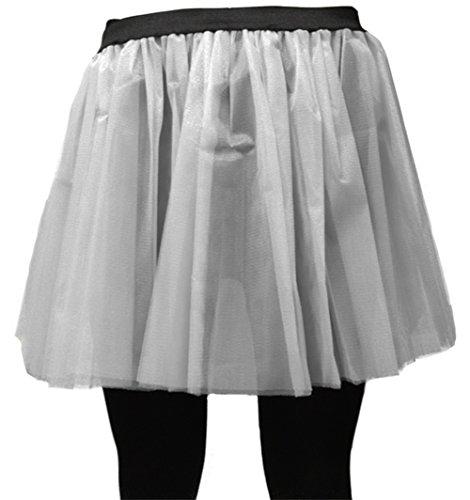 A-Express Damen Lange 36cm Tütü Rock Neon Tutu Netz Tüllrock 3 Lagen Petticoat für verrücktes Kleid Party Kostüm - (Weiß, Größe - Party Express Kostüm