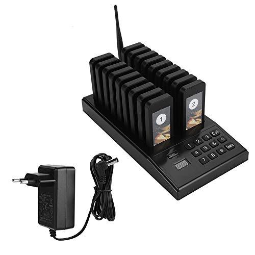 Paging-einheit (Drahtloses Pager System Gästeruf- Kundenrufsystem Paging-System mit 18 Wiederaufladbaren Pagern, 433,92 MHz Hohe Empfindlichkeit, maximal 999 Kanäle für Restaurant Schnellimbiss usw(EU 100-240v))