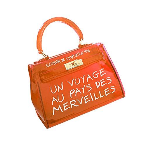 chen Neue Koreanische Version All-Matched Candy Farbe Gelee Paket Transparente Tasche Mode Handtasche Umhängetasche (S, Orange) ()