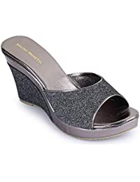 Bruno Manetti Women Grey Faux Leather Wedges