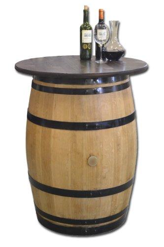 Dekofass, Stehtisch aus echtem Weinfass, Gartentisch mit Tischplatte nussbaumfarben lackiert D80 cm - Fass geschliffen und lackiert