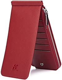 Haut Ton Rfid Blocking Women'S Genuine Leather Wallet Credit Card Holder Zipper Purse (Red)