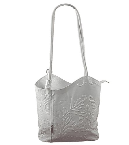 2 in 1 Handtasche Rucksack Designer Luxus Henkeltasche aus Echtleder in versch. Designs (Prägung Hellgrau-Weiß) (Handtasche Prägung Leder)