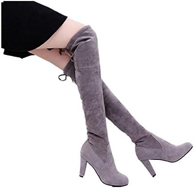 FEITONG mujeres Tramo Faux Delgado Alto Botas Encima los Rodilla Botas Alto tacones Zapatos