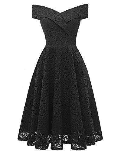 Bright Deer Damen Spitzen-Cocktailkleid Off-Shoulder Midi-Ballkleid mit Kreuz, Knielange Bridesmaid Hochzeitsgast Skaterkleid im Wickeloptik 44...
