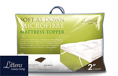 "Littens 2"" Deep Luxury Soft As Down Microfibre Mattress Topper 1000gsm Filling (4ft6 Double Bed Size 137cm x 190cm) 2"