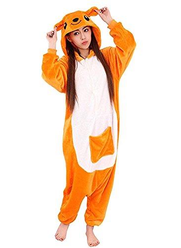 JT-Amigo Damen Herren Tier Kostüm Pyjama Jumpsuit Schlafanzug Overall, Känguru Kostüm, Gr. S