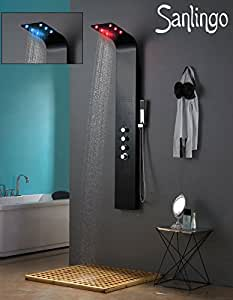 led aluminium colonne de douche douche de pluie massage noir mat sanlingo bricolage. Black Bedroom Furniture Sets. Home Design Ideas