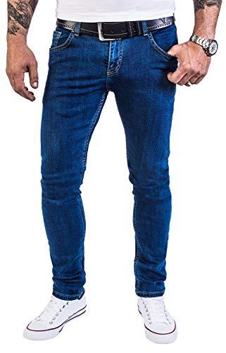 Rock Creek Herren Jeans Hose Regular Slim Stretch Jeans Herrenjeans Herrenhose Denim Stonewashed Basic Stretchhose Raw RC-2139 Blau W40 L32 - Herren-rock