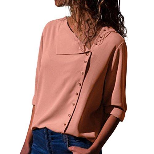 TEBAISE 2018 Ausverkauf Frauen Büro Oktoberfest Party Offenen Kragen Elegante Formale Casual Revers Neck T-Shirt Damen Langarm Schnalle Bluse Tops(Rosa,EU-42/CN-S)