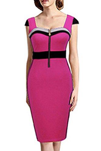 Elegante Sweetheart Vertrag Farbe Patchwork OL Kleid für Damen Pink