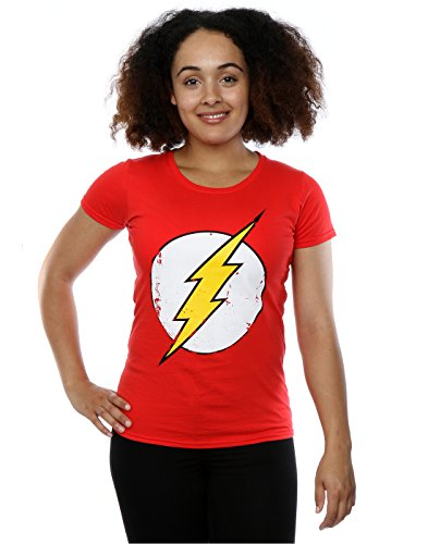 DC Comics Damen Flash Distressed Logo T-Shirt Small Rot (Damen Superhero Kostüm T Shirts)