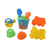 Polesie 573 214 Decorated Sieve, Shovel, Rake No.2, 2 Forms (Trucklwithlocomotive), Watering Can No.3-Sets: Flower Bucket, Small, Multi Colour