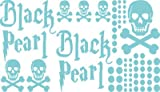 Autoaufkleber Sticker Aufkleber Set für Auto Schriftzug Black Pearl Totenköpfe (599 pastelltürkis)