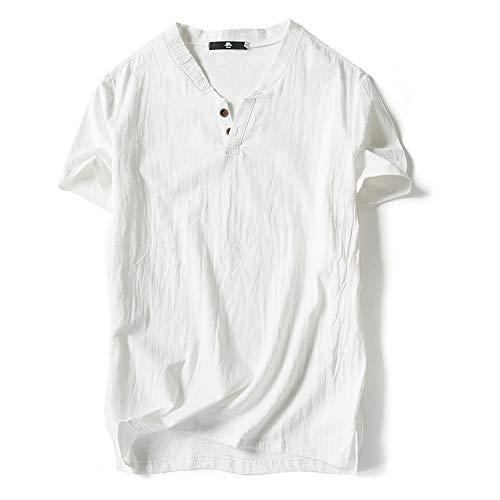 IZHH Herren Plus Größe Hemd, Sommer Casual Leinen Und Baumwolle Lose Kurzarm Einfarbig V-Ausschnitt T-Shirt Mode Top Bluse Tees(Weiß,Large)