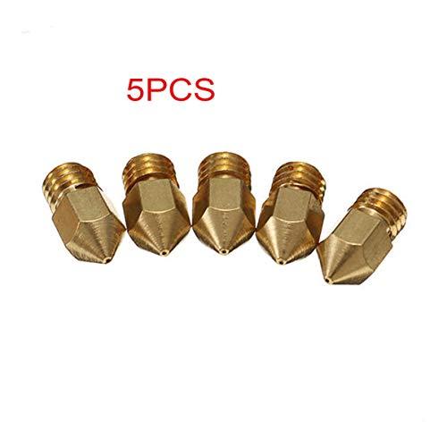 FHJZXDGHNXFGH-DE 5 STÜCKE 0,4mm Kupfer M6 Gewinde Extruder Düse Für Drucker Messingdüse Drucker 0,4mm Extruder Messingdüse Druckkopf