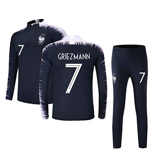 LSY Männer Fußball Jersey Frankreich Fußball Trainingsanzug 2 Sterne Set Trikots 2018 WM T-Shirt Kurze Team Männer Lange Ärmel und Hose,N°7,XL