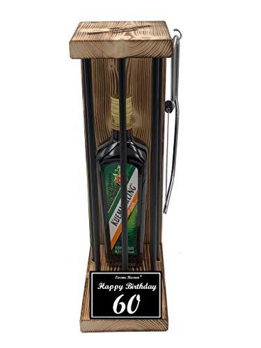 (Happy Birthday 60 Geburtstag - Die Eiserne Reserve ® Black Edition mit Kuemmerling 0,50L incl. Säge zum zersägen der Stäbe - Die ausgefallene lustige witzige besondere Geschenkidee)