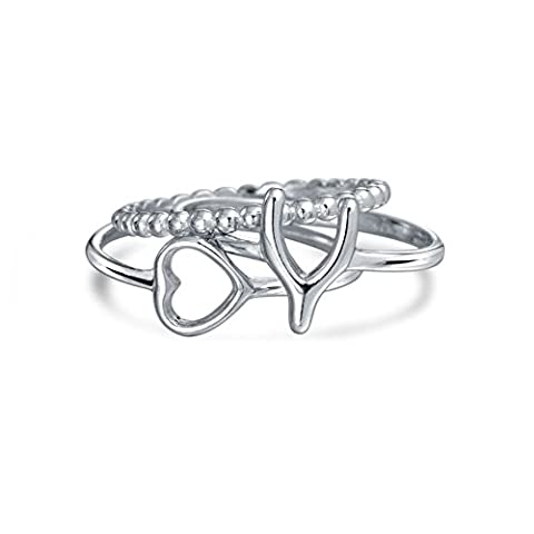 Lucky Wishbone Heart 925 Silver Stackable Midi Rings Set