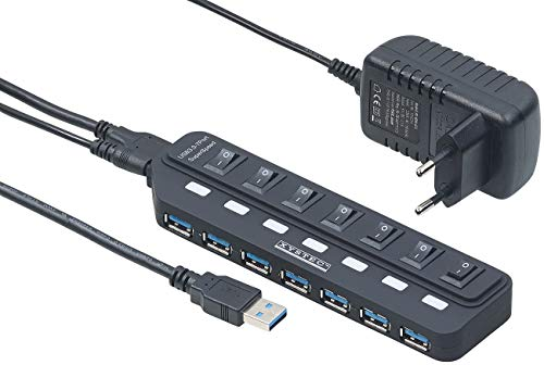 Xystec USB Mehrfachstecker: Aktiver USB-3.0-Hub mit 7 Ports, einzeln schaltbar, 2-A-Netzteil (USB Verteiler 3 0) -