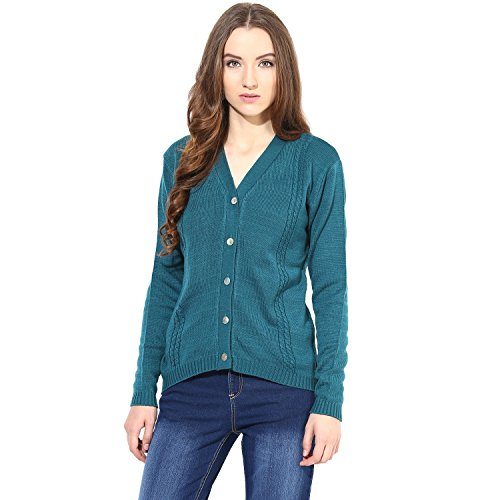 The Vanca Women's Dark Green V Neck Line With Cable Design