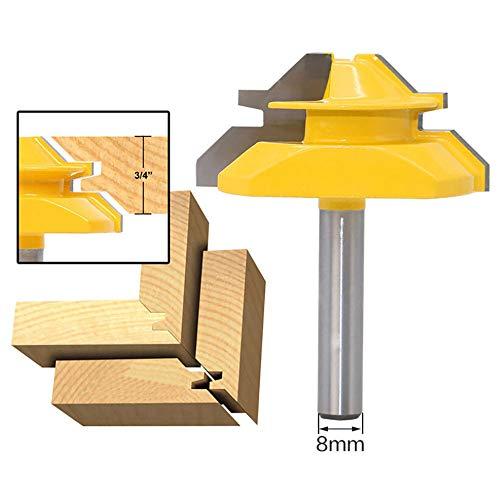 APlus Verleimfräser Gehrung Verleimfräser Oberfräse 45 Grad Lock Miter Router Bit Holzbearbeitung Fräser Schneidwerkzeug für Graviermaschine Trimmmaschine (Schaft 8mm)